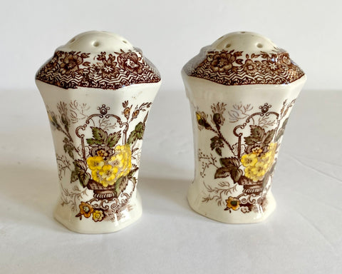 Brown English Transferware Salt & Pepper Shakers Masons Ascot Flower Basket & Butterfly