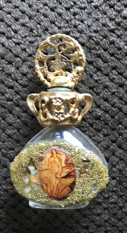 Vintage Adrian Filigree Gold Mini Perfume Oil Bottle adorned w/ Real Stones & Image #4