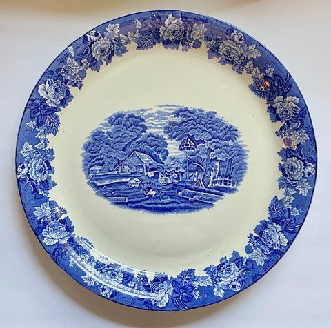 "HUGE Vintage Blue Transferware 15"" Round Charger Platter Girl Feeding Farm Animals Pigs Chickens Cows England"