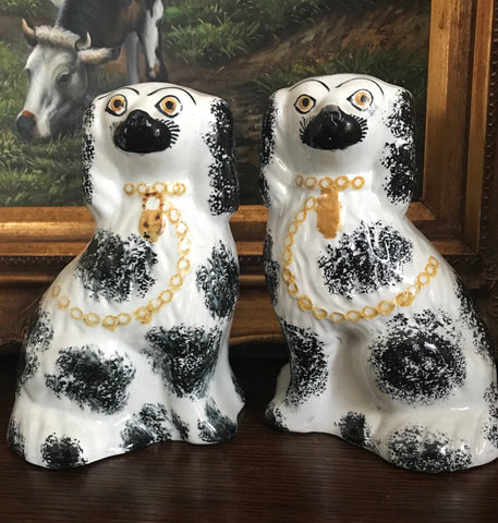 Vintage Pair Black Spotted English Staffordshire Spaniel Dogs Figurines
