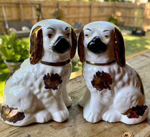 "Pair Antique Miniature 4"" Copper Gold Lustre & White English Staffordshire Spaniel Dog Figurines"