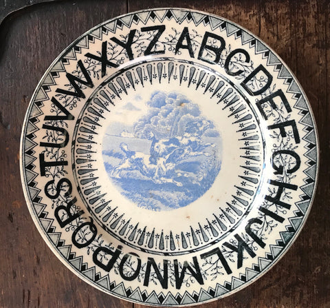 19C Staffordshire ABC Alphabet & Dogs Bi Color  Transferware Nursery Child's Plate