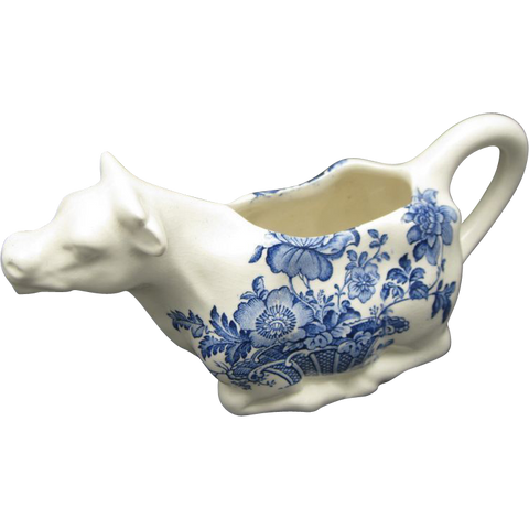 Vintage Blue and White Transferware Charlotte Figural Cow Creamer Pitcher