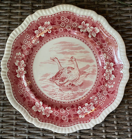 RARE Vintage Spode Copeland Tower Red Transferware Plate Game Bird Wild Geese No 10
