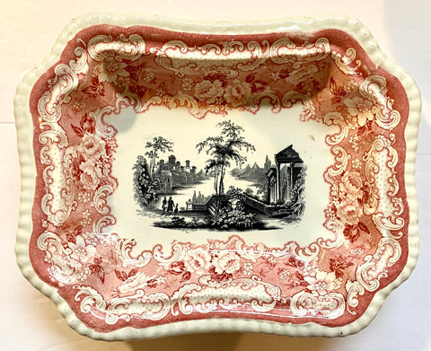 Rare Bishop & Stonier Athena Vintage Two Color Transferware Red & Black Footed Serving Dish Victorian Scrolls Roses