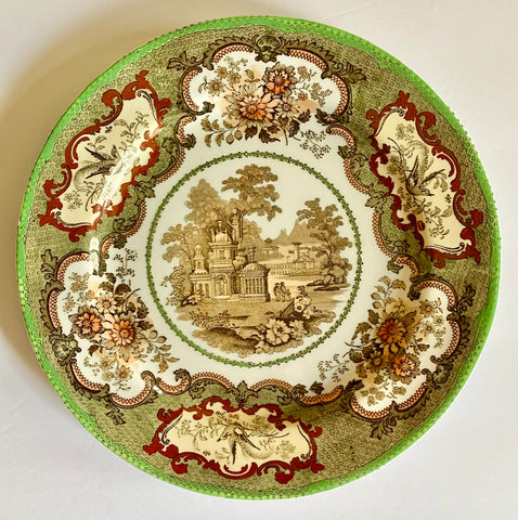 Antique Garden Scenery Brown Transferware Plate Royal Doulton Hand Colored