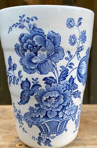 Vintage Blue English Transferware Tumbler Glass Cup Charlotte Basket of Roses
