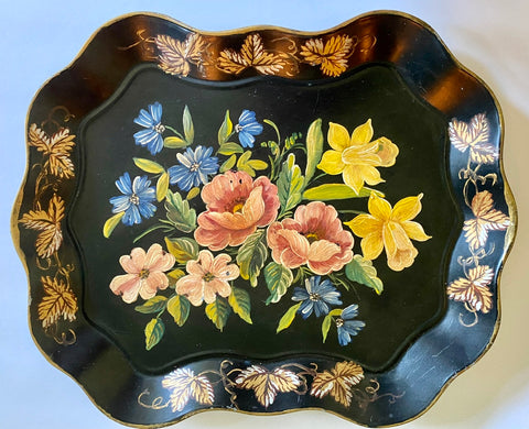 Vintage Scalloped Black Tole Tray Toleware Hand Painted Daffodils Bachelors Buttons Roses