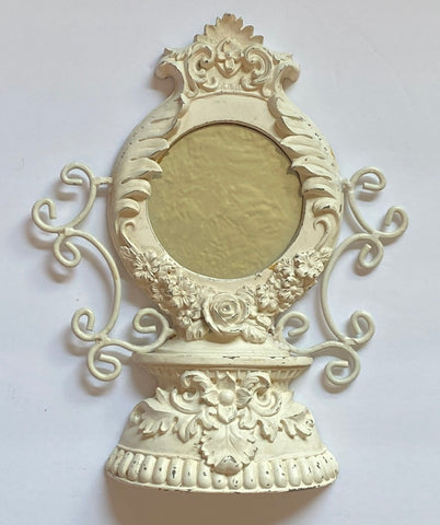 Vintage English Roses Mirror w/ Open scrollwork or Wall Corbel Ornamental Bracket