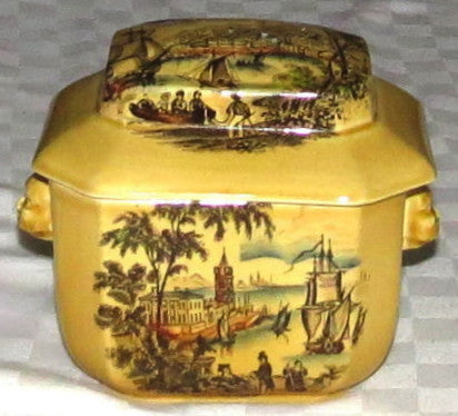 Black Polychrome Transferware Tea Caddy Safe Harbour Ship Scene Figural Face Shaped Handles Lidded Jar