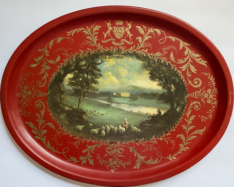 Vintage English Tole Toleware Red Tray Flock of Sheep Scene Derwent River Chatsworth House