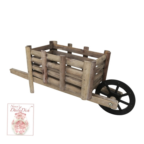 Country French Wooden Wood Decorative Wheel Barrow Cart Flower Pot