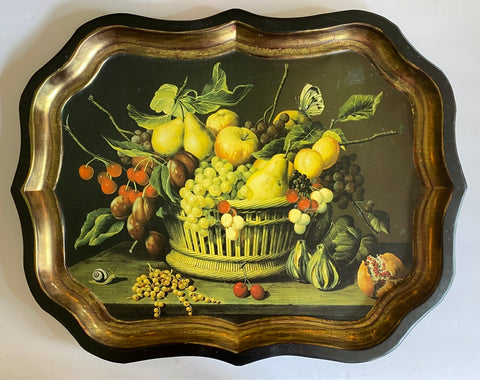 Vintage Rattan Basket of Fruit Still Life Insects Botanical Tole Tray Toleware London England