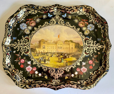 Stunning Vintage Tole Tray Woburn Abbey Bees Butterflies Roses Blackberries Queen Victoria 1841
