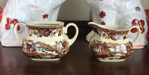 Brown Polychrome English Transferware Sugar & Creamer Tonquin Waterfall Swans Sailboat