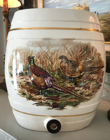 19-20C Antique English Game Bird Pheasants & Snipe Liquor Keg Spirits Barrel  IDEAL FOR LAMP