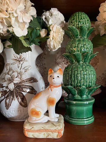 "Vintage 8"" Caramel Spotted Staffordshire Cat Figurine on Green Tassel Pillow Base (Right)"