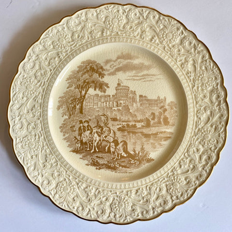 Creamware & Gold Transferware Charger Plate Windsor Castle Hunting Scene Embossed Border