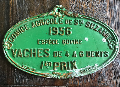 Vintage Kitchen GREEN French Country BOVINE 1 PRIX Award Plaque 1956 Farming History