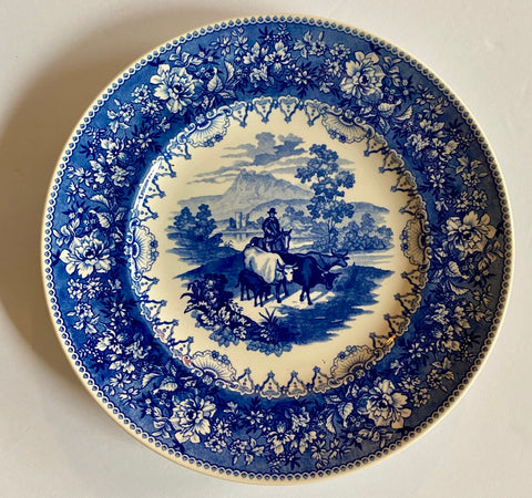 The Cattle Drover Cows Plate Wedgwood Blue Transferware
