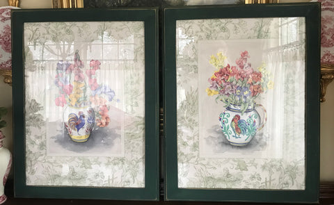 Large Pair of French Country Rooster Pitcher Flower Prints w/ Green Toile Border Wood Framed