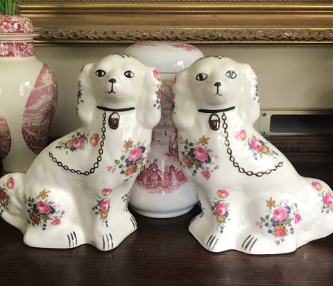 Vintage Pair of Chintz English Staffordshire Spaniel Dog Figurines  - English Country Decor