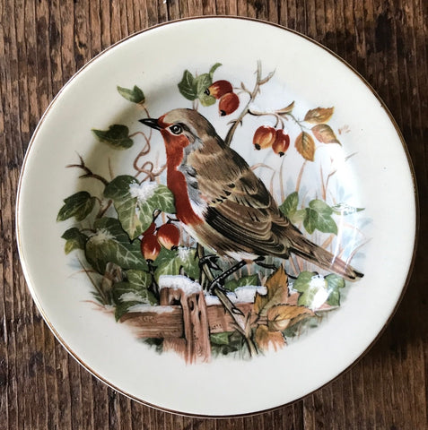 Bird on Fence Butter Pat Trinket Dish Plate   England