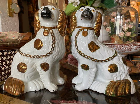 Pair of Antique Copper Lustre Green & White English Staffordshire Spaniel Dog Figurines
