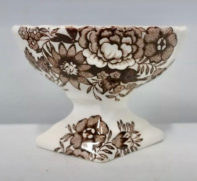 Vintage Brown English Transferware Footed Master Salt Cellar Pedestal Roses