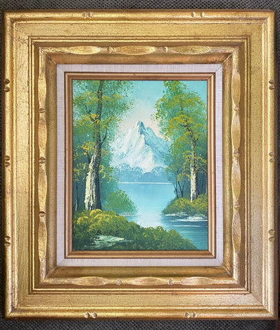 Vintage Mountain Trees Lake Landscape Oil Painting Framed Good Leaf Wood Frame