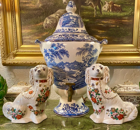 Pair of Unusual Markings Floral Chintz English Transferware Vintage Staffordshire Spaniel Dogs