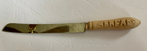Antique English Sheffield Edwardian Carved Wood Handled Bread Knife