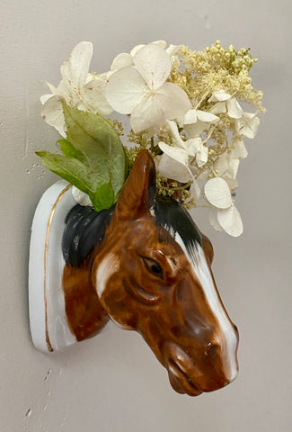 Vintage English Country Horse Head Hanging Bud Vase  / Wall Pocket / Pen Holder
