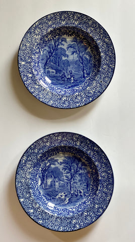 Pair of 2 Vintage Blue Chintz Transferware Rim Bowls w/ Different Pastoral Cottage Scenes