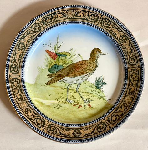 Antique 1903 Royal Doulton Woodcock Clobbered Transferware Luster Plate Game Bird 2