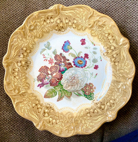 Rare antique Prattware Gold Transferware Plate Country French Botanical Floral Peony Bouquet Cornflower Phlox  #1