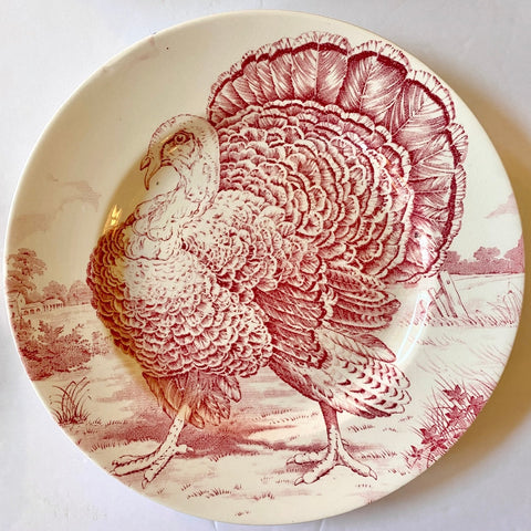 Vintage / Antique  Pink / Red Transferware Turkey Plate English China Staffordshire Dinner Plate Thanksgiving Decor Midwinter Wild Turkey