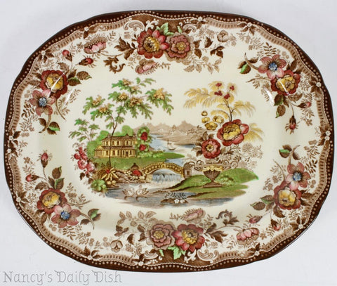 "16"" Vintage Brown Multicolor Transferware Platter Royal Staffordshire Tonquin Clarice Cliff Cottage Swans & Roses"