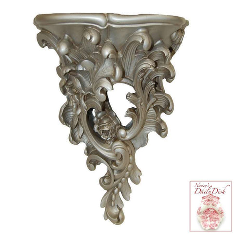 XL Asking For Roses Wall Corbel Bracket Ornamental Shelf - Silver