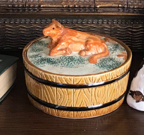 Vintage Majolica Butter Dish Tub Faux Bois Wood Barrel Resting Cow Lid Top