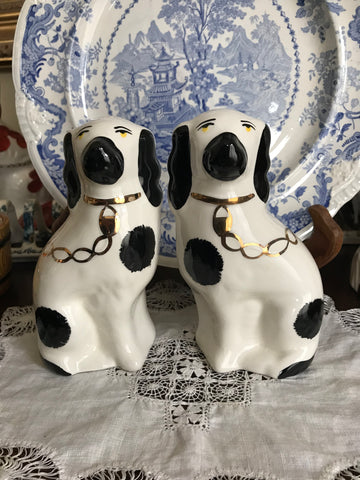 "6"" Pair of Vintage Black & White Gilt English Staffordshire Spaniel Dog Figurines  - English Country Decor"
