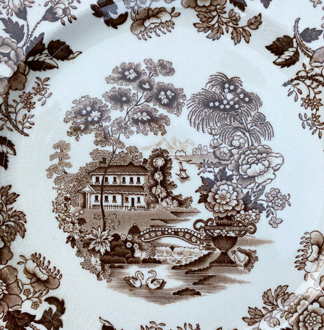 "6"" Swans & Roses Brown Transferware Plate Tonquin Royal Staffordshire"