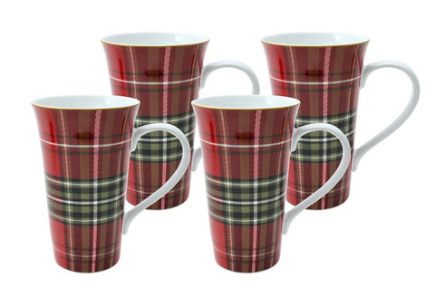 "6.25"" TALL Tartan Plaid Red & Green Scottish Mugs Coffee Cups Set of 4 NEW 222 Fifth Wexford"