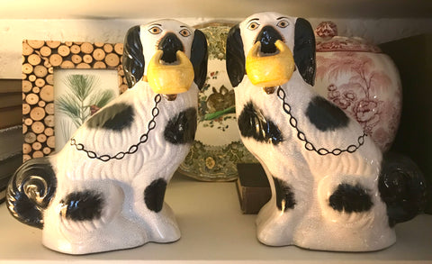 Vintage Pair Medium Black & White Staffordshire Spaniel Dog Figurines w/ Baskets in Mouth  - English Country Decor