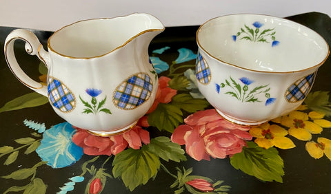 Vintage Blue & Yellow Scottish Tartan Plaid Small Creamer & Sugar Bowl w/ Thistle