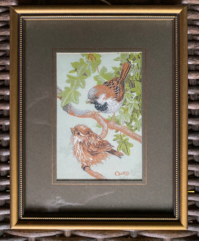Vintage English Woven Silk Sparrow Birds on Flowering Branch Matted in Gold Frame