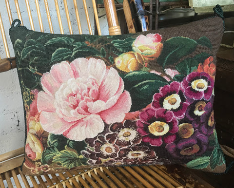 New Spring Peony Phlox Floral Needlepoint Petit Point Pink Green Brown Pillow Cover