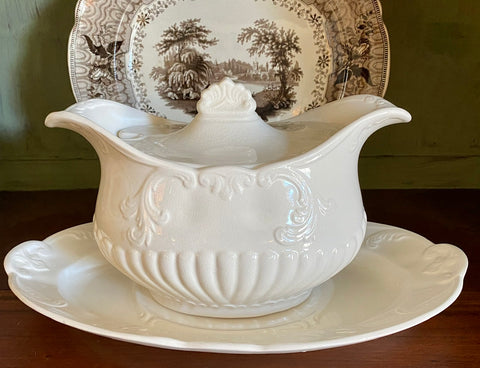 Vintage Beautifully Embossed Whiteware English Ironstone Soup Tureen & Underplate / Platter