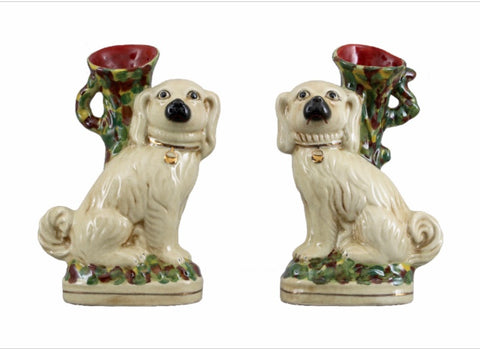 "Pair of Large 12"" Cavalier Spaniel Staffordshire Dog Spill Vases"