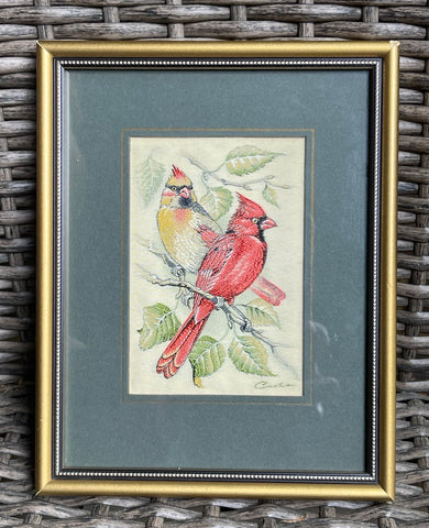 Vintage English Woven Silk Great Red & Gold Cardinals Pair Matted & Gold Frame